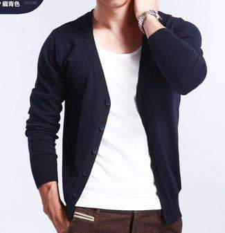 PinKart-USA Online Shopping navy blue / M Spring And Autumn Multi-Colored V-Neck Solid Color Sweater Outerwear Male Cashmere Cardigan