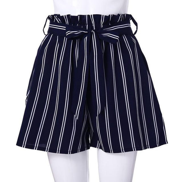 PINkart-USA Online Shopping Navy / L / China New Arrival Summer Women Polyester Retro Stripe Casual Fit Elastic Waist Pocket Shorts With String
