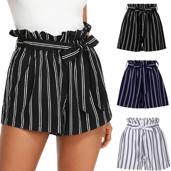 PINkart-USA Online Shopping New Arrival Summer Women Polyester Retro Stripe Casual Fit Elastic Waist Pocket Shorts With String