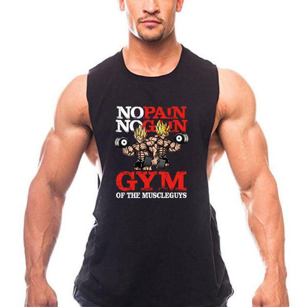 PINkart-USA Online Shopping New Brand Clothing Bodybuilding Fitness Men Gyms Tank Top Golds Vest No Pain No Gain Cotton