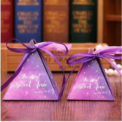 PinKart-USA Online Shopping NO 10 / Small 10 Style Available 100Pcs/Lot Triangle Flower Candy Box Paper Box Free Hang Tag And Ribbon
