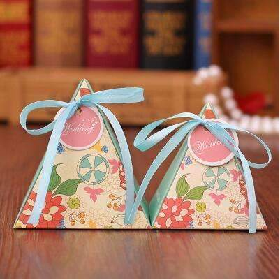 PinKart-USA Online Shopping NO 2 / Small 10 Style Available 100Pcs/Lot Triangle Flower Candy Box Paper Box Free Hang Tag And Ribbon