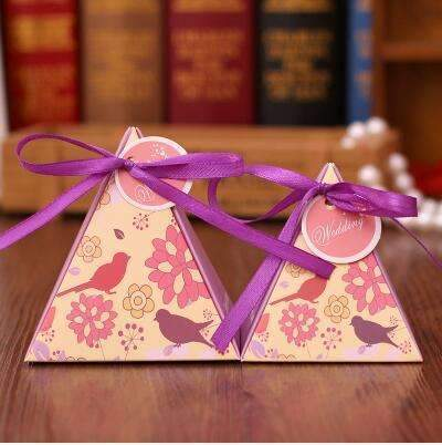 PinKart-USA Online Shopping NO 3 / Small 10 Style Available 100Pcs/Lot Triangle Flower Candy Box Paper Box Free Hang Tag And Ribbon