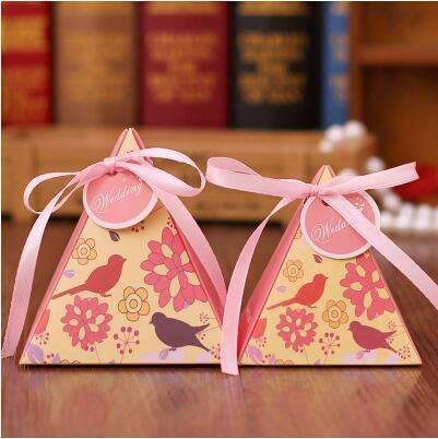 PinKart-USA Online Shopping NO 4 / Small 10 Style Available 100Pcs/Lot Triangle Flower Candy Box Paper Box Free Hang Tag And Ribbon