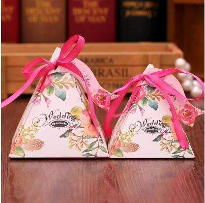 PinKart-USA Online Shopping NO 5 / Small 10 Style Available 100Pcs/Lot Triangle Flower Candy Box Paper Box Free Hang Tag And Ribbon