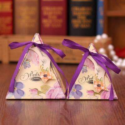 PinKart-USA Online Shopping NO 6 / Small 10 Style Available 100Pcs/Lot Triangle Flower Candy Box Paper Box Free Hang Tag And Ribbon
