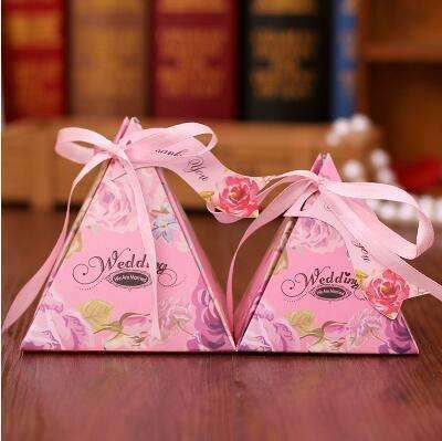 PinKart-USA Online Shopping NO 7 / Small 10 Style Available 100Pcs/Lot Triangle Flower Candy Box Paper Box Free Hang Tag And Ribbon
