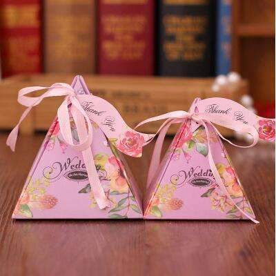 PinKart-USA Online Shopping NO 8 / Small 10 Style Available 100Pcs/Lot Triangle Flower Candy Box Paper Box Free Hang Tag And Ribbon
