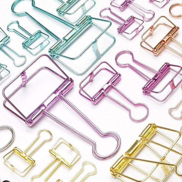 PinKart-USA Online Shopping Novelty Solid Color Hollow Out Metal Binder Clips Notes Letter Paper Clip Office Supplies Fod