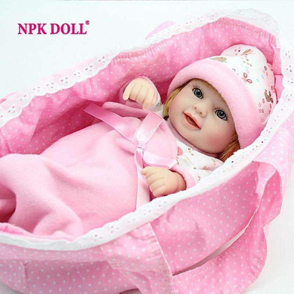 PinKart-USA Online Shopping Npk Mini Reborn Baby Doll 10 Inch Vinyl Baby Alive Toys Girls Gift Basket Pillow Blankets Outfit