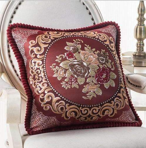 PinKart-USA Online Shopping O / 45x45m only cover Luxurious Embroidery Velour Home Decor Cushion Decoration Lace Pillow / European Velvet Sofa