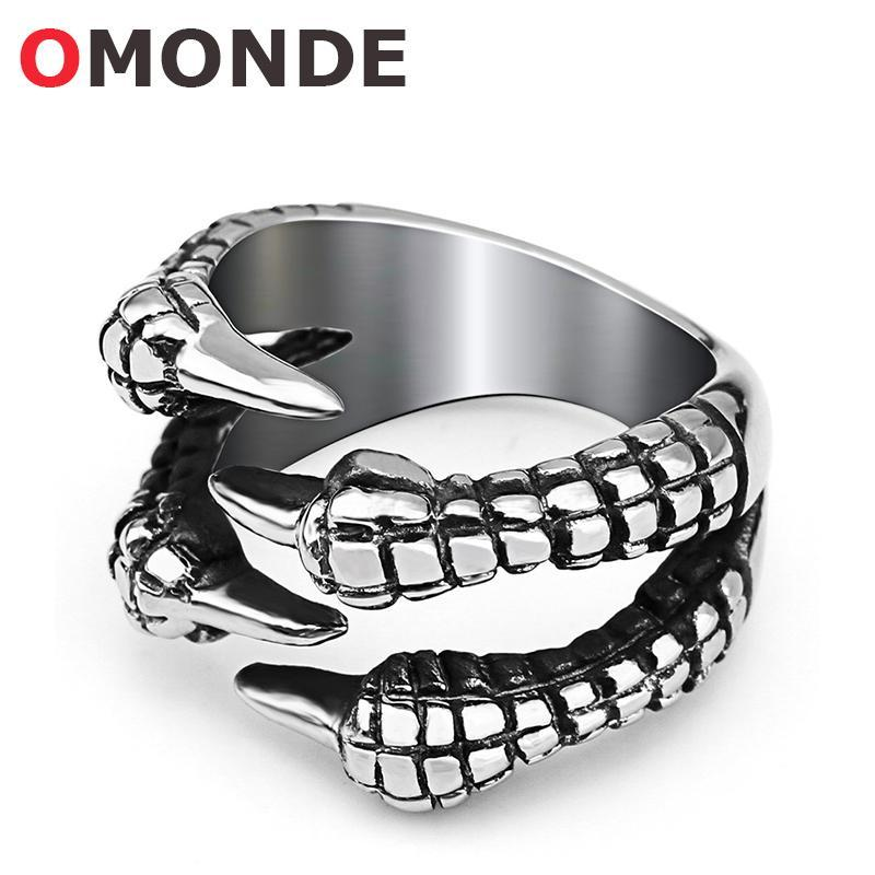 OMONDE New Arrival Titanium Stainless Steel Dragon Claw Rings Devil Texture Monster Animal Claw - PINkart.in