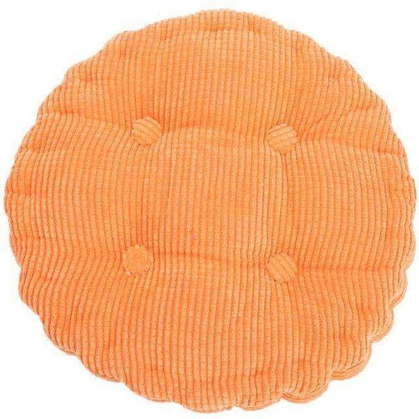 PinKart-USA Online Shopping Orange 1Pc 36*38Cm Round Shape Plaid Chair Pad Cushion Thicker Soft Washable Cotton Colorful Home Decor