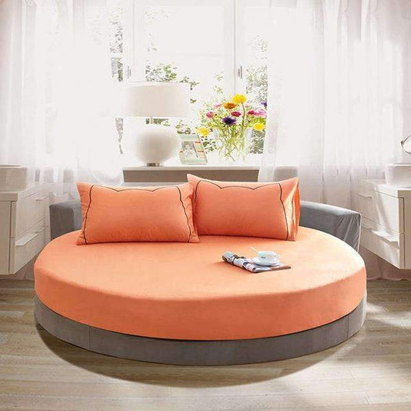 PinKart-USA Online Shopping orange / 200cm 100% Pure Cotton Solid Color Bed Sheet Round Fitted Sheet Europe Style Soft Sheet Multicolor Bed