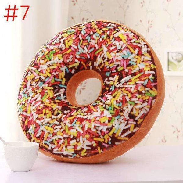 PinKart-USA Online Shopping Orange Cute Donuts Pillow Chocolate Donuts Plush Macaron Food Cushion Nice Bottom Cushion Nap Pillow