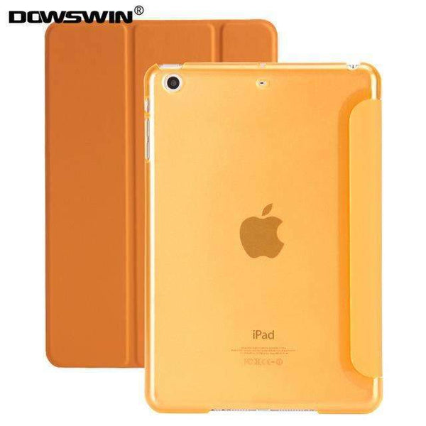 PinKart-USA Online Shopping Orange For Ipad 9.7 Case Release Smart Wake Up Sleep Pu Leather With Matte Transparent Pc Back