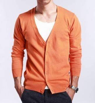 PinKart-USA Online Shopping orange / M Spring And Autumn Multi-Colored V-Neck Solid Color Sweater Outerwear Male Cashmere Cardigan