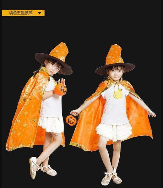 PinKart-USA Online Shopping Orange / One Size / Wizard Cloak Boy Girl Kids Children Halloween Costumes Witch Wizard Cloak Gown Robe With Hat Cap Stars Fancy
