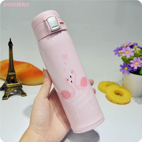 PINkart-USA Online Shopping Oussirro Fashion Lovely Flamingo Thermos Pretty Coffee Thermos Mug 304 Stainless Steel Vacuum Cup