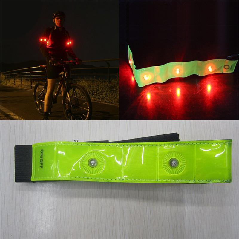 PINkart-USA Online Shopping Outdoor Sport 2 Piece Set Reflective Bands Bike Light Night Safety Arm Cycling Bicycle Light Belt