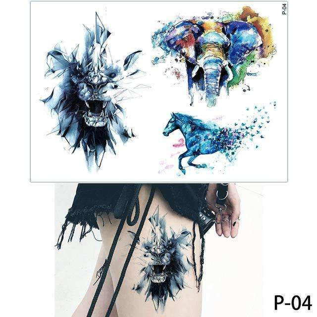 cd66f0acd ... PinKart-USA Online Shopping P04 1X Diy Body Art Temporary Tattoo  Colorful Animals Watercolor Painting ...