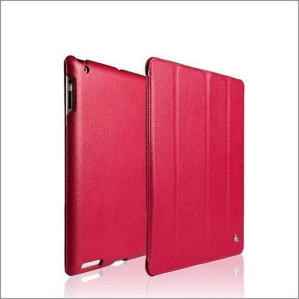 PinKart-USA Online Shopping Peach Red Jisoncase Brand Case For Ipad 2 3 4 Leather Case Pu Protective Smart Cover Case For Ipad 2 3 4