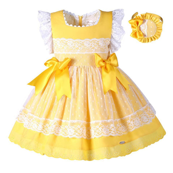 PINkart-USA Online Shopping Pettigirl Girls Easter Dress Summer Yellow Cotton Kids Dress With Headwear Clothes G-Dmgd101-B171