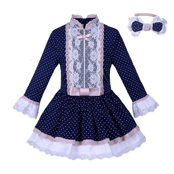 PINkart-USA Online Shopping Pettigirl Navy Girls Dress With Lace Sash Polka Dots Dresses Vintage Boutique Spring Autumn