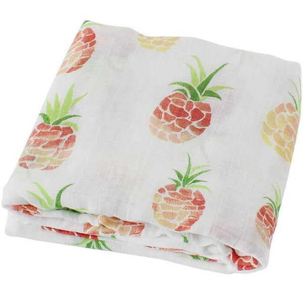 PINkart-USA Online Shopping Pineapple Super Soft Blanket For Children Cotton Bamboo Muslin Swaddle For Newborns Baby Wrap Breathable Car