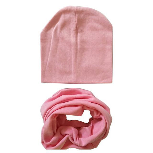 PINkart-USA Online Shopping pink 1 Set Cotton Baby Hat Scarf Solid Color Children Caps Scarves Autumn Winter Kids Boys Girls O Ring