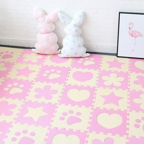 PINkart-USA Online Shopping Pink 10Pcs Baby Play Mat In Nursery Eva Foam Childrens Carpet With Border Puzzle Mat For Borns