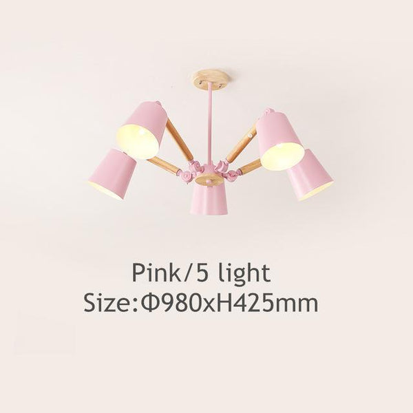 PINkart-USA Online Shopping Pink 5 light Lustre Led Chandelier For Living Room Hanging Lights Lustres Para Sala De Jantar Lampshade Wood