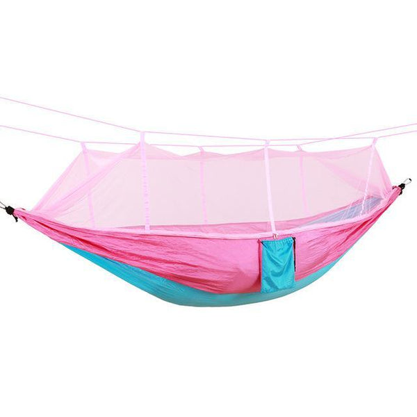 PINkart-USA Online Shopping pink blue / Russian Federation Portable High Strength Parachute Fabric Camping Hammock Hanging Bed With Mosquito Net Sleeping
