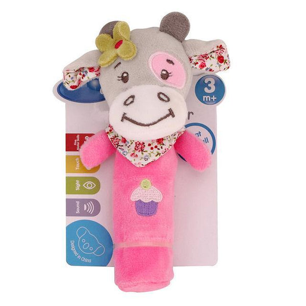 PINkart-USA Online Shopping pink cattle 0-12 Months Born Bb Sticks Plush Baby Toys Soft Dog Cattle Doll Baby Rattle Colorful Infant