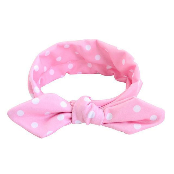 PINkart-USA Online Shopping pink Cute Dot Print Baby Headband Turban Rabbit Ears Girl Hairband Bow Knot Hair Bands For Baby Girl