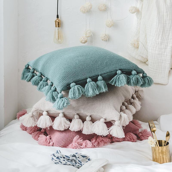 PINkart-USA Online Shopping Pink Decorative Cushion Cover For Sofa Bed 45X45Cm Fashion Knitted Tassel Living Room Cushion