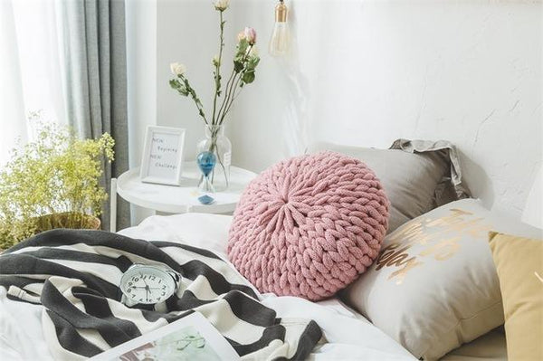 PINkart-USA Online Shopping Pink / Diameter 40cm Fashion White Crochet Round Cushions Pillows For Sofa Bed Solid Handmade Knitted Big Ball Home