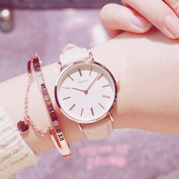 PINkart-USA Online Shopping Pink Fashion Casual Wild Watches Women Simple Scale Ladies Wristwatches Classic Quartz Leather Female