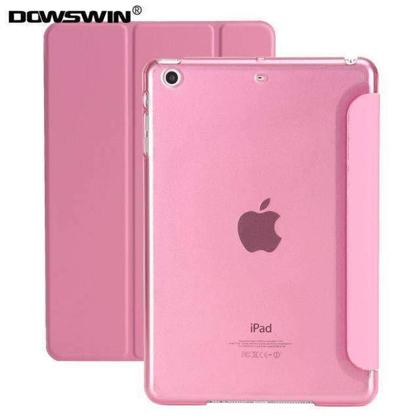 PinKart-USA Online Shopping Pink For Ipad 9.7 Case Release Smart Wake Up Sleep Pu Leather With Matte Transparent Pc Back