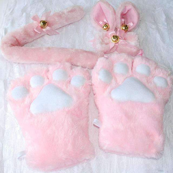 PinKart-USA Online Shopping Pink / One Size 1 Set Anime Cosplay Costume Gloves Sweet Cat Ears Plush Paw Claw Gloves Tail Bow-Tie Halloween