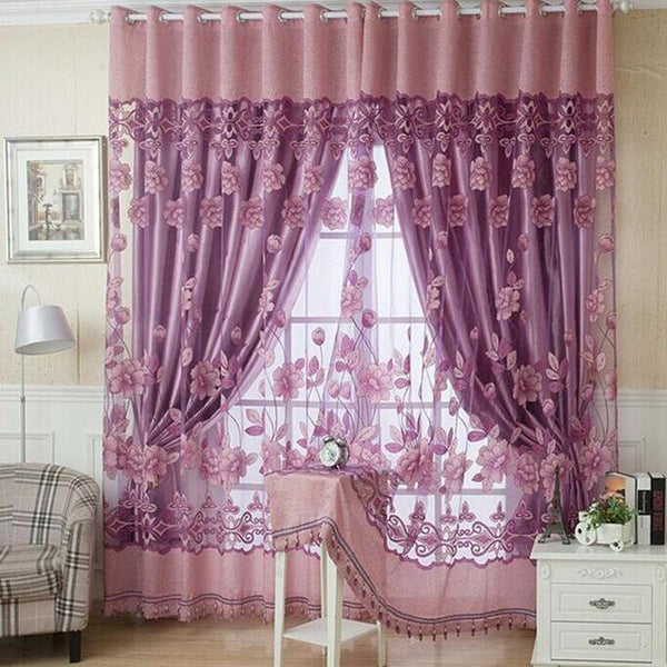 PINkart-USA Online Shopping Pink purple / W100cm L250cm 1 Piece Fashion Roman Embroidered Tulle Curtains Printed Burnout Polyester For Living Room Bedroom