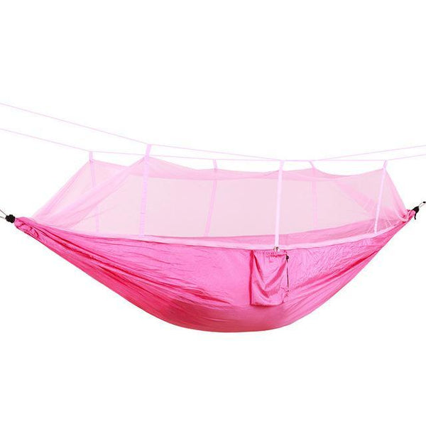 PINkart-USA Online Shopping pink / Russian Federation Portable High Strength Parachute Fabric Camping Hammock Hanging Bed With Mosquito Net Sleeping