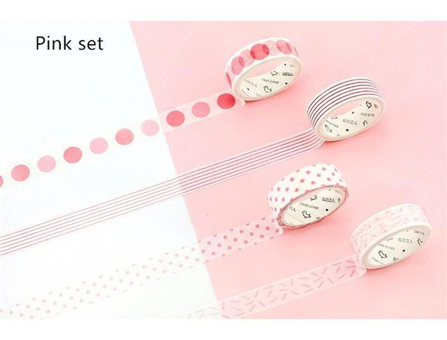 PINkart-USA Online Shopping Pink set 4 Pcs Basic Rainbow Paper Washi Tape Set 15Mm*7M Color Decoration Tape Masking Stickers