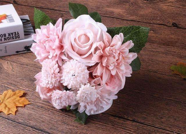 PinKart-USA Online Shopping pink Silk Flower Wedding Bouquet Roses Dahlias Artificial Flowers Fall Vivid Fake Leaf Wedding Flower