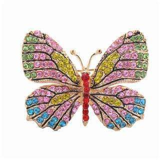 PinKart-USA Online Shopping Pink Stone Oneckoha Fashion Jewelry Colorful Rhinestone Butterfly Brooches Alloy Enameled Animal Brooch Pin