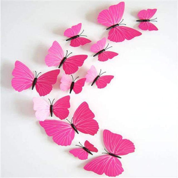 PinKart-USA Online Shopping Pink strip 12 Pcs/Lot Pvc Butterfly Decals 3D Wall Stickers Home Decor Poster For Kids Rooms Adhesive To Wall