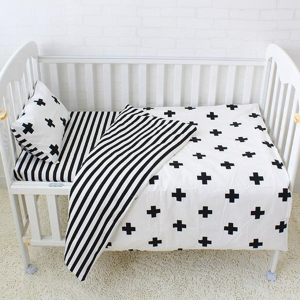 PINkart-USA Online Shopping Plus 3 Pcs Baby Bedding Set Pure Cotton Bed Linen For Children Crib Kit Include Duvet Cover Pillowcase