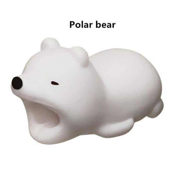 PINkart-USA Online Shopping Polar bear Cute Animal Doll Cable Bite Protector For Iphone Usb Cable Organizer Winder Chompers Chager Wire Holder For Iphone Cable