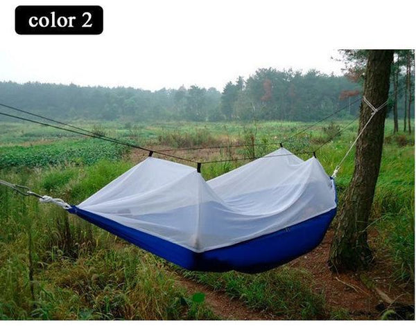 PINkart-USA Online Shopping Portable High Strength Parachute Fabric Camping Hammock Hanging Bed With Mosquito Net Sleeping