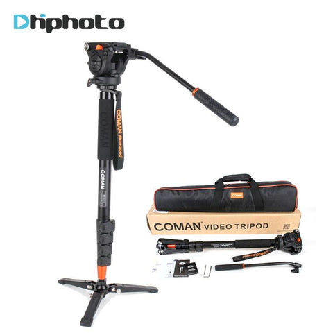 PINkart-USA Online Shopping Professional Coman Aluminum Alloy Video Tripod Monopod With Fluid Pan Head Unipod Holder For